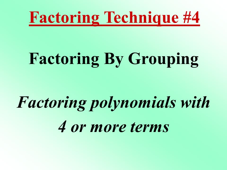 Factoring polynomials with