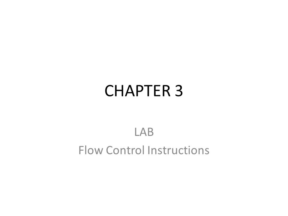 LAB Flow Control Instructions