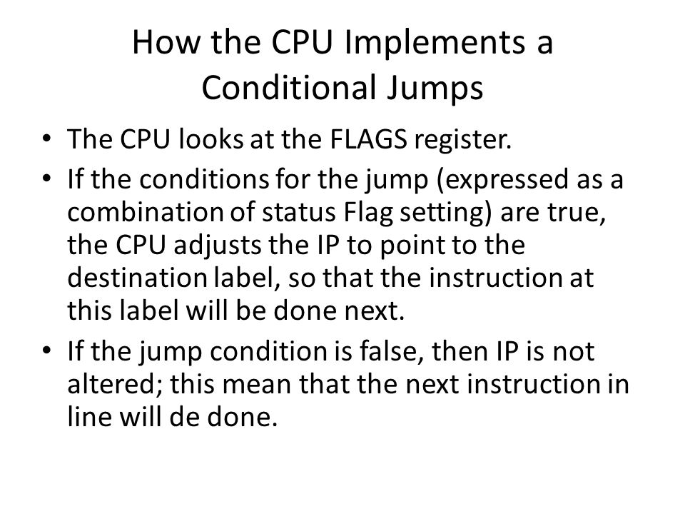 How the CPU Implements a Conditional Jumps