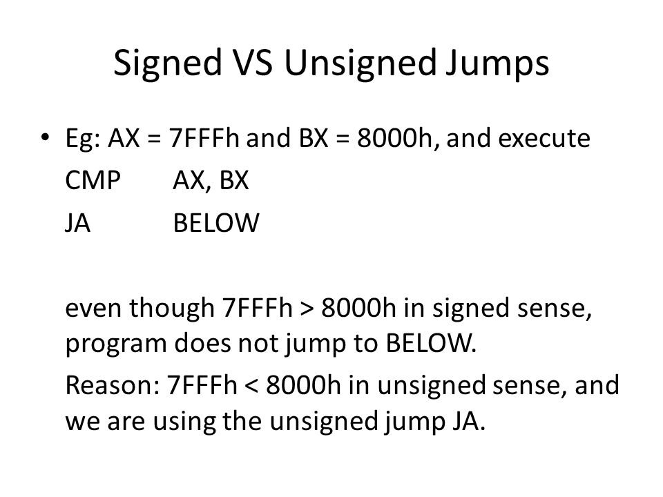 Signed VS Unsigned Jumps