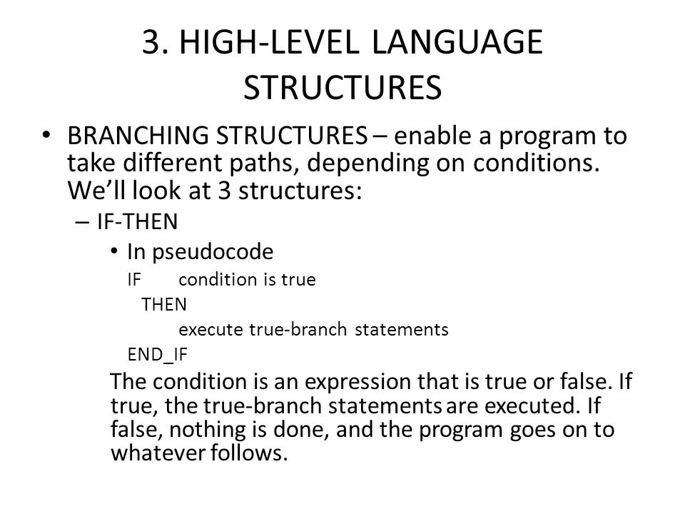 3. HIGH-LEVEL LANGUAGE STRUCTURES