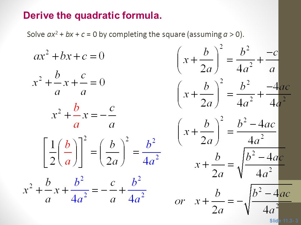 Derive Quadratic Formula Worksheet Breadandhearth