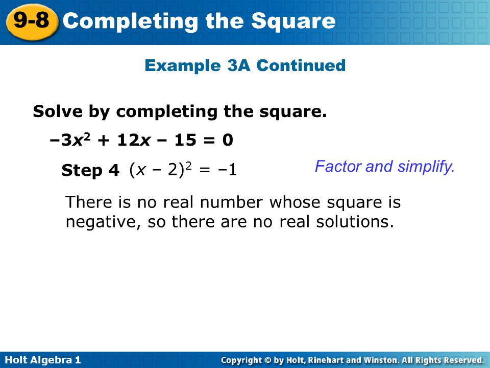 Warm up simplify ppt video online download example 3a continued solve by completing the square 3x2 12x 15 ccuart Choice Image
