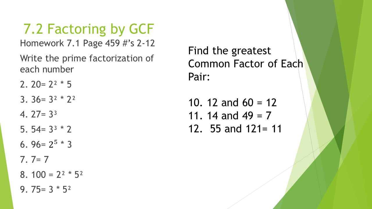 72 Factoring By Gcf Find The Greatestmon Factor Of Each Pair:
