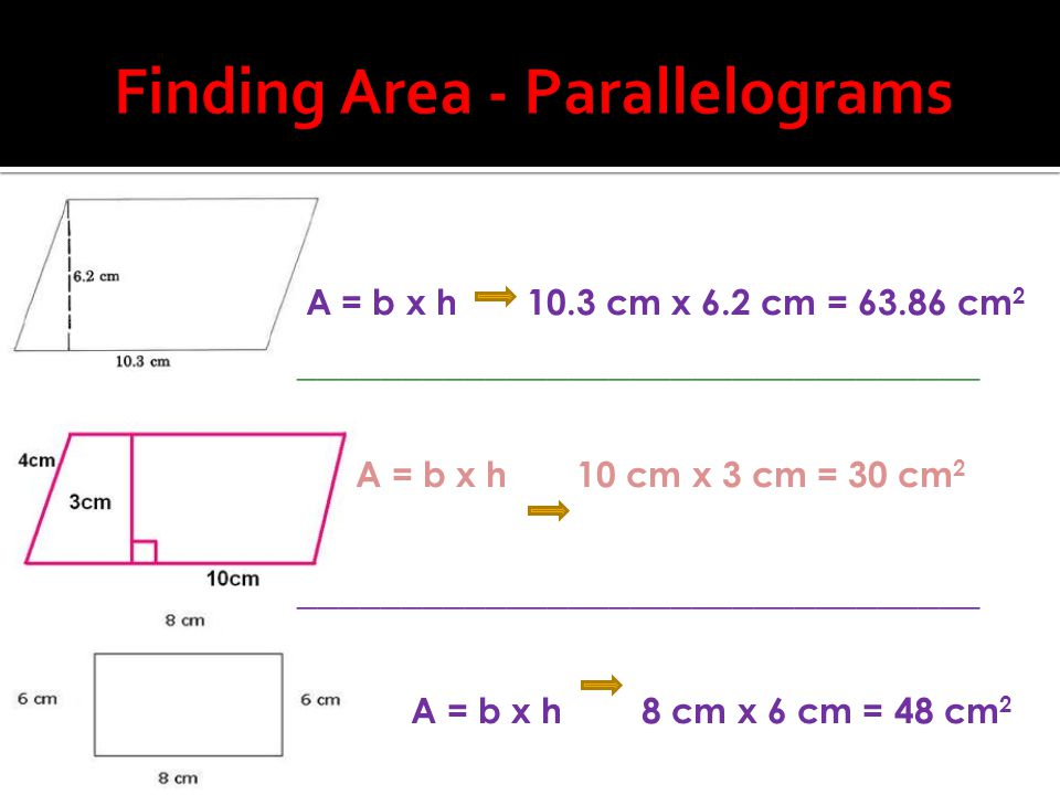 Finding Area - Parallelograms