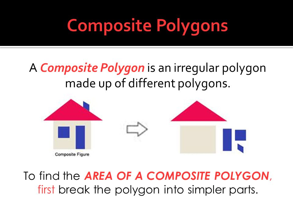 Composite Polygons A Composite Polygon is an irregular polygon made up of different polygons.