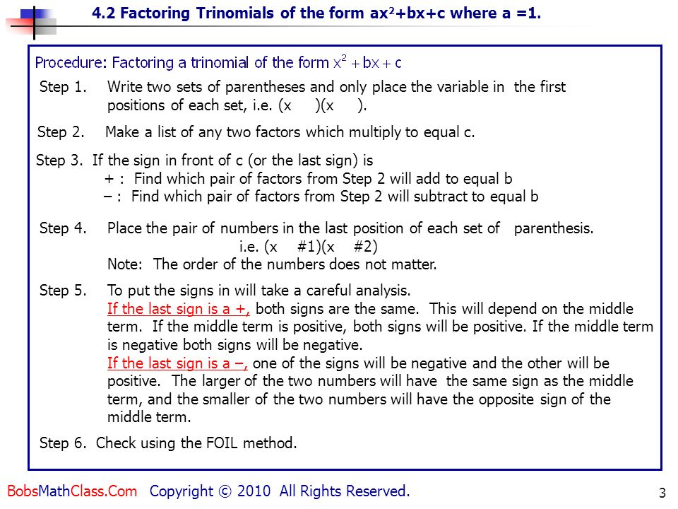 To factor a trinomial of the form: x2 + bx + c - ppt video online ...