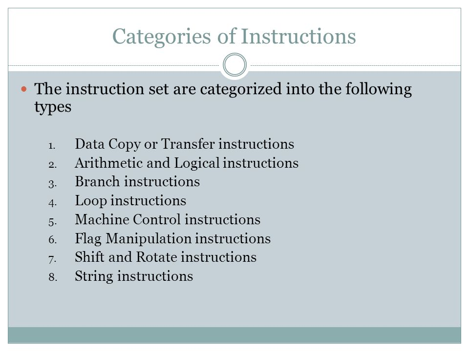 Categories of Instructions