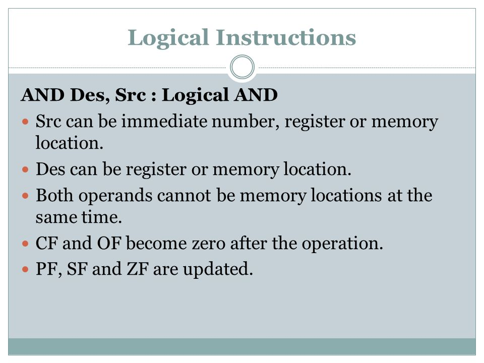 Logical Instructions AND Des, Src : Logical AND