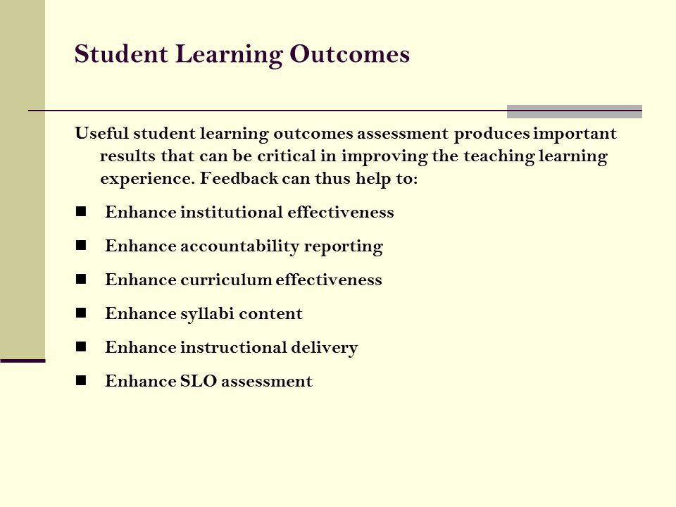learning outcomes assessment for student nurse Components: outcome, assessment method, criteria for success, in the   learning outcomes describe what students are able to demonstrate in terms.