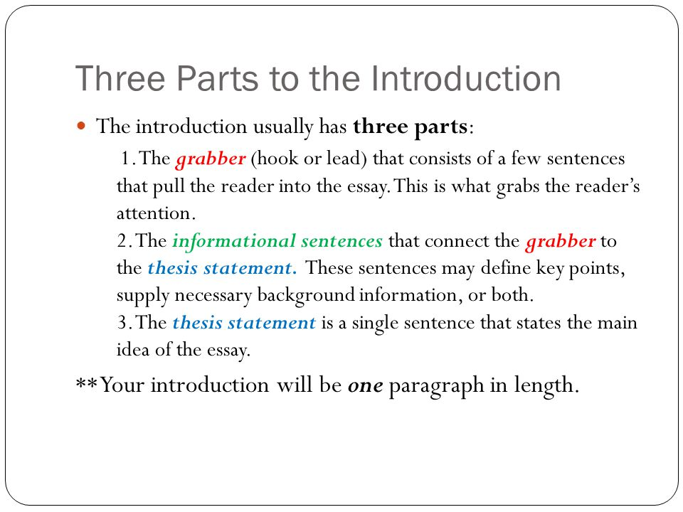 What are the three parts of an essay