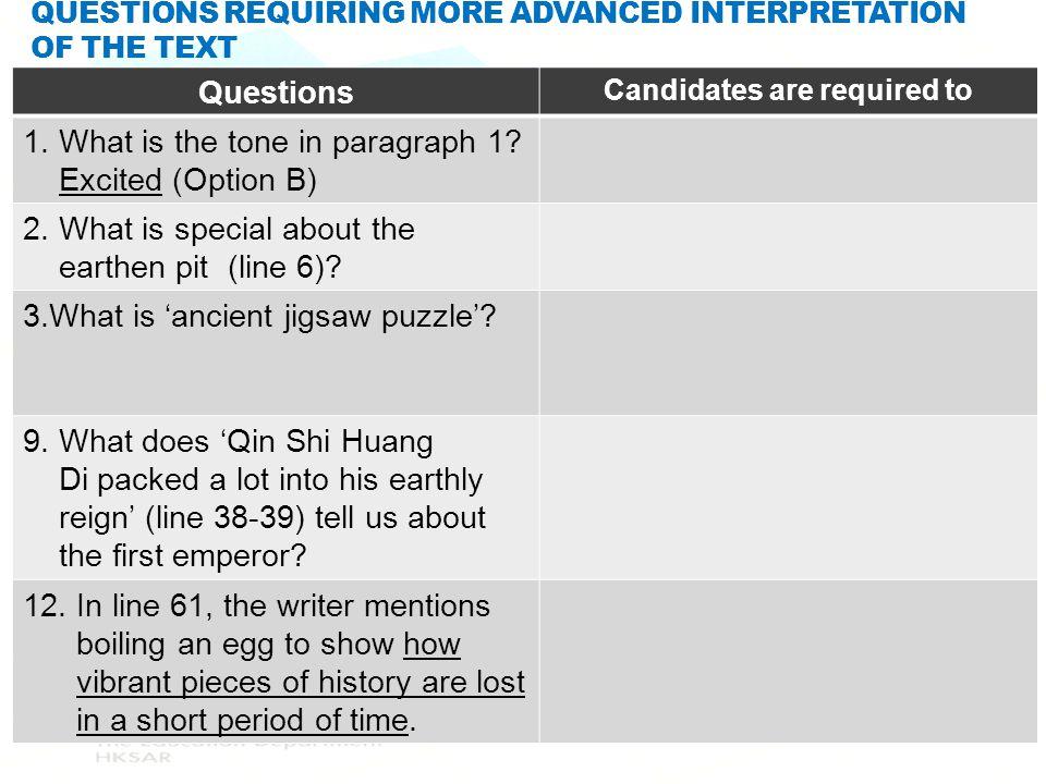 Questions requiring more advanced interpretation of the text