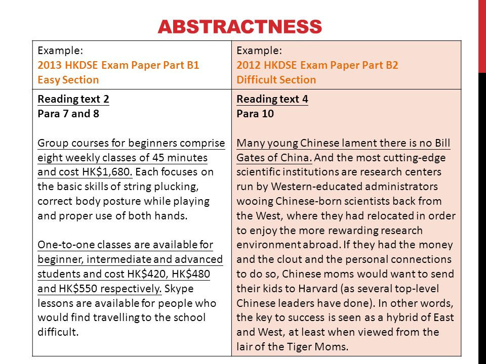 Abstractness Example: 2013 HKDSE Exam Paper Part B1 Easy Section