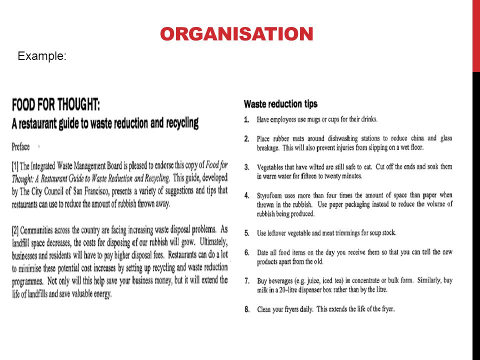 Organisation Example: Practice Paper Part B1 (Reading texts 3 & 4) Easy Section