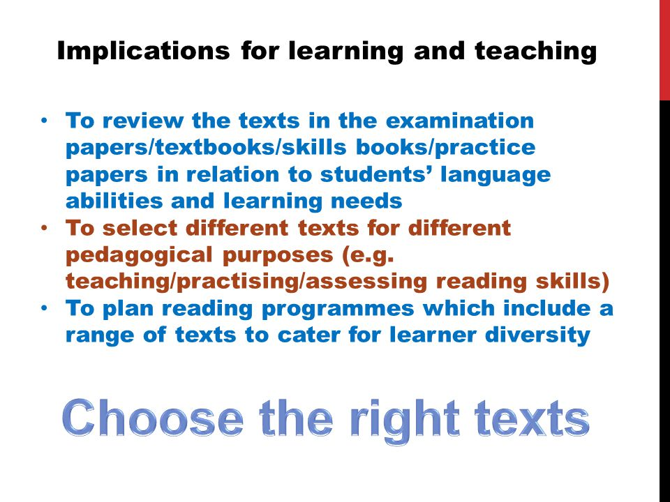 Implications for learning and teaching