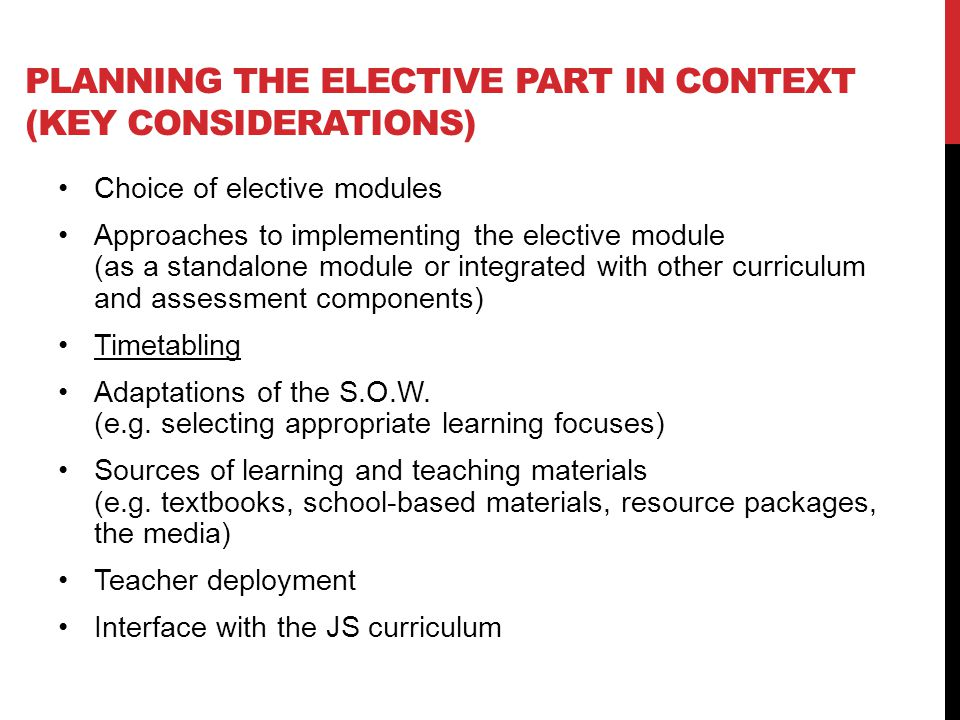 Planning the elective part in context (key Considerations)