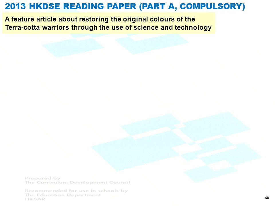 2013 HKDSE Reading Paper (Part A, Compulsory)