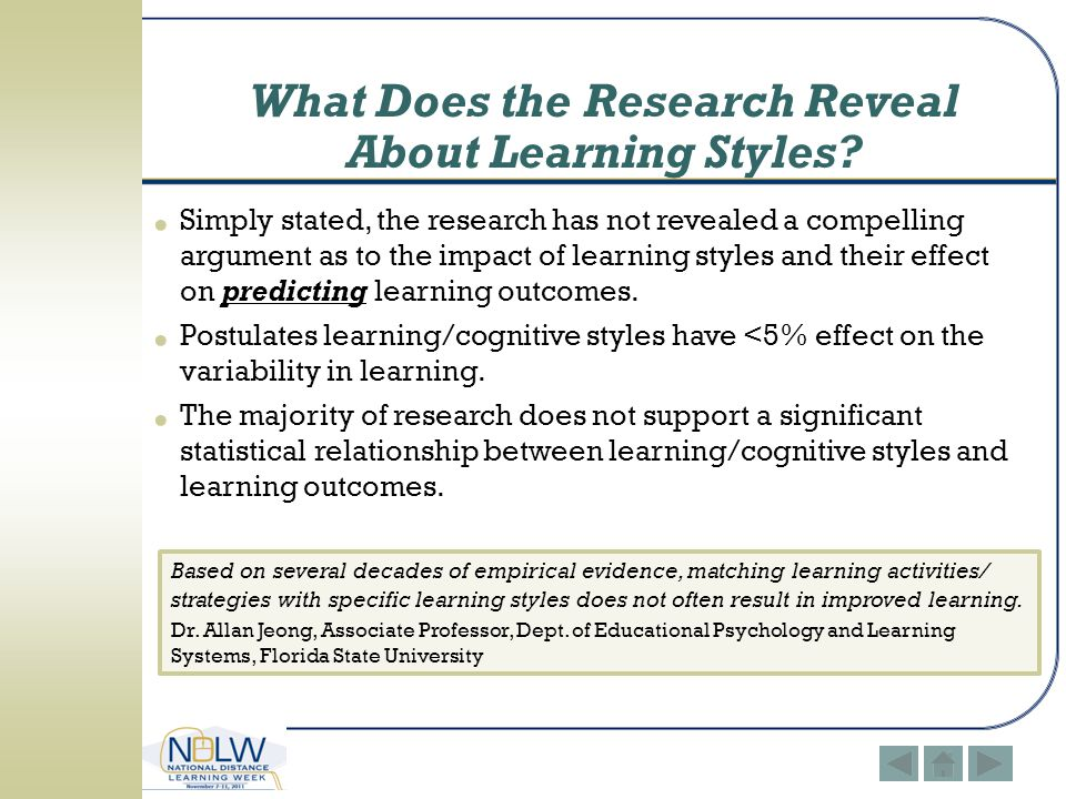 What Does the Research Reveal About Learning Styles