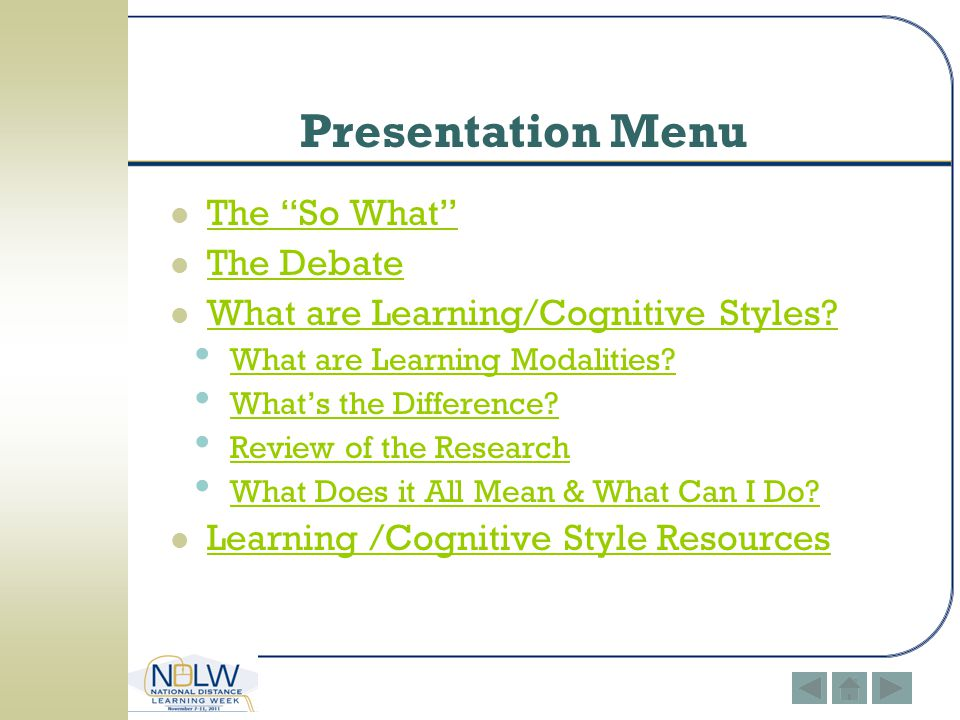 Presentation Menu The So What The Debate