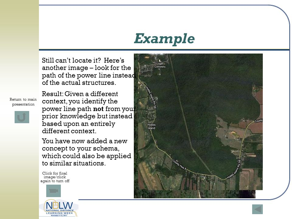 Example Still can't locate it Here's another image – look for the path of the power line instead of the actual structures.