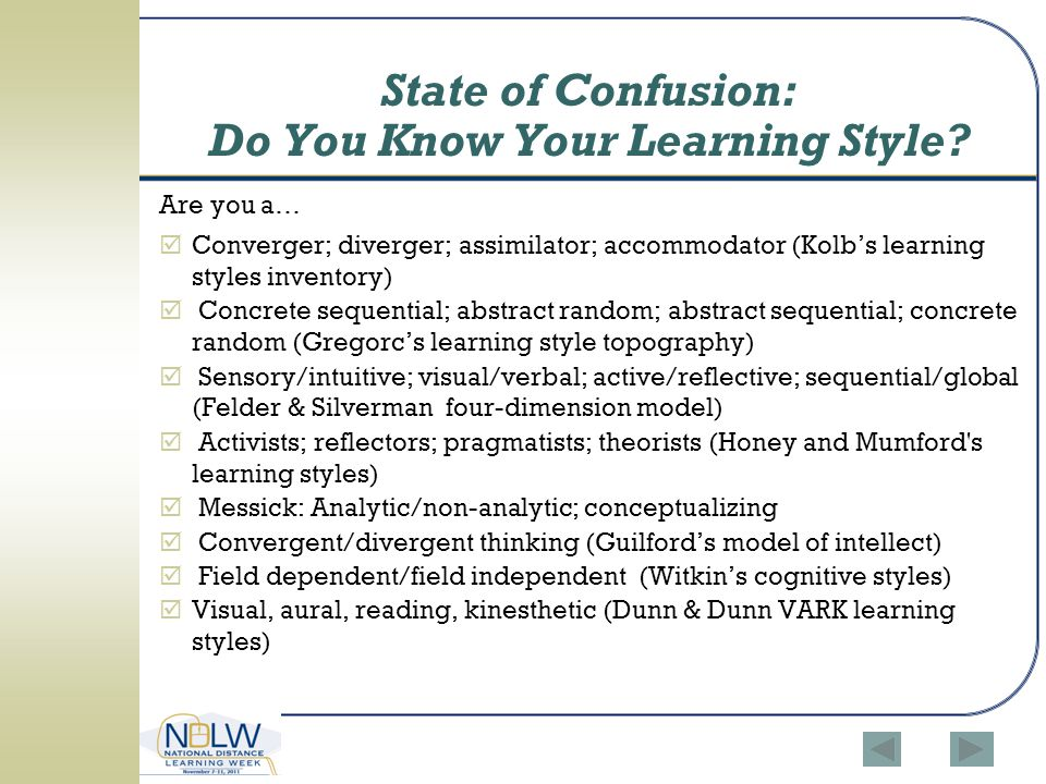 State of Confusion: Do You Know Your Learning Style