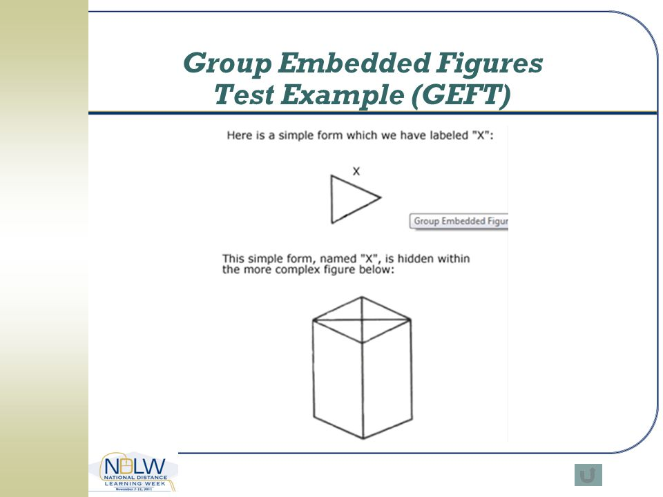 Group Embedded Figures Test Example (GEFT)