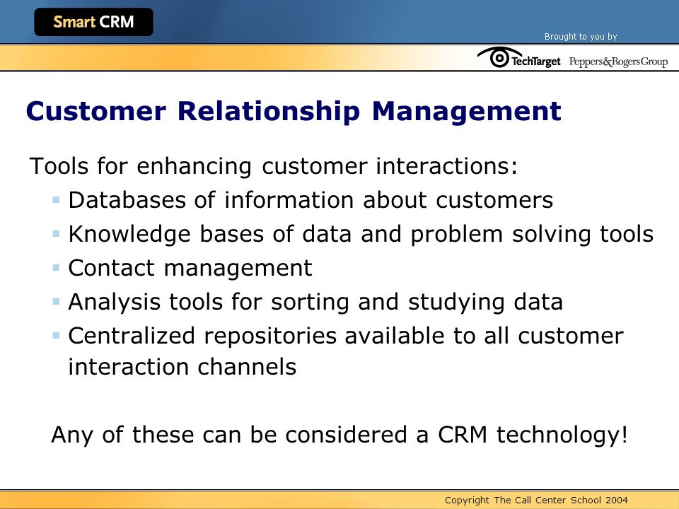 customer relationship management tools and technology