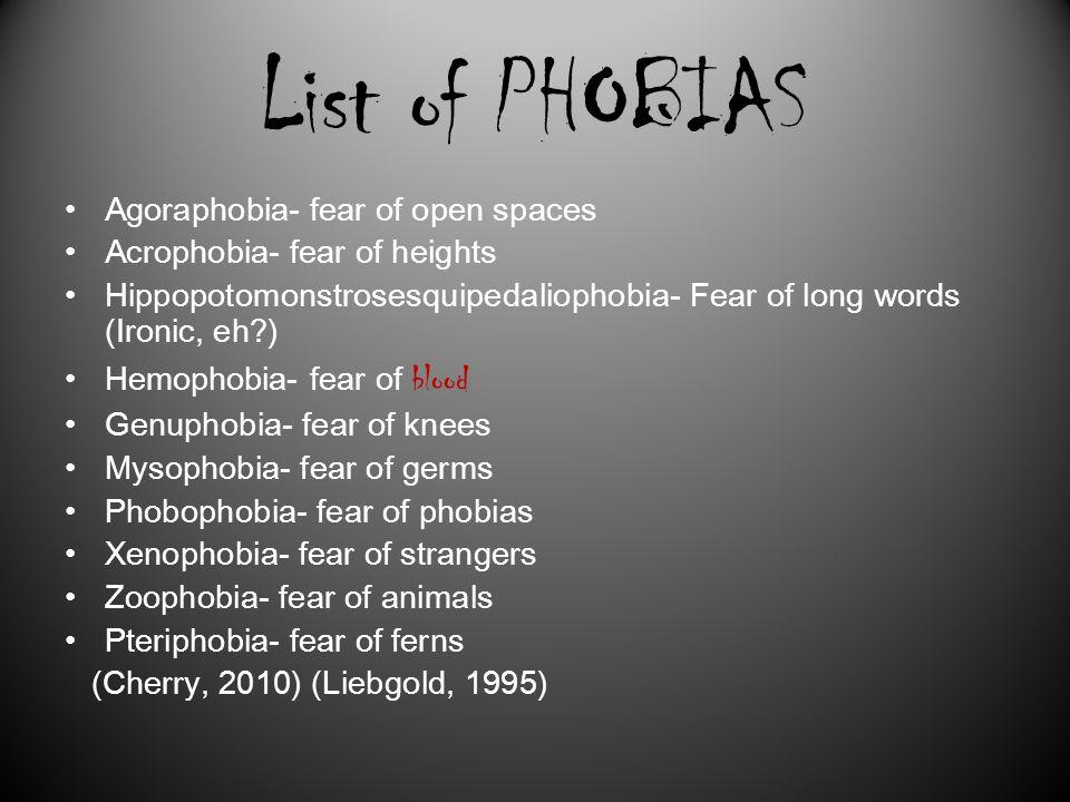 """list of phobias Our list of 100 weird phobias may help you when you least expect it social phobias  no responses to """"100 weird phobias that really exist."""