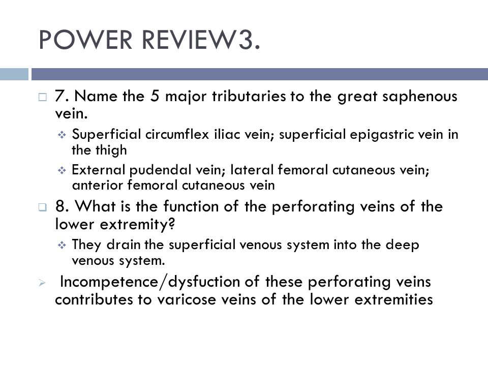 POWER REVIEW3. 7. Name the 5 major tributaries to the great saphenous vein.