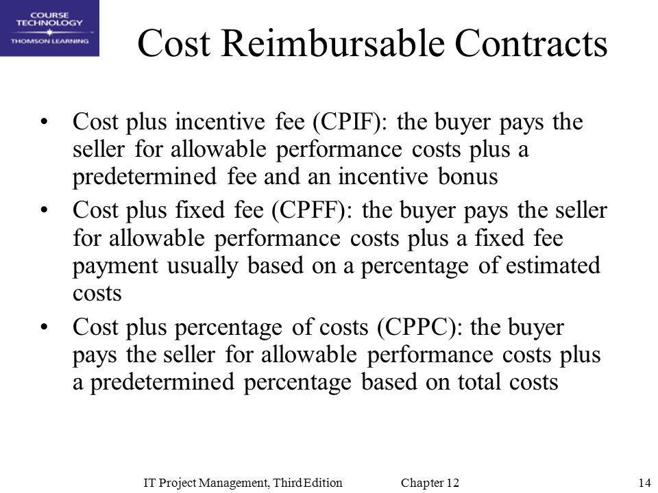 Chapter 12 project procurement management ppt video for Cost plus contract example