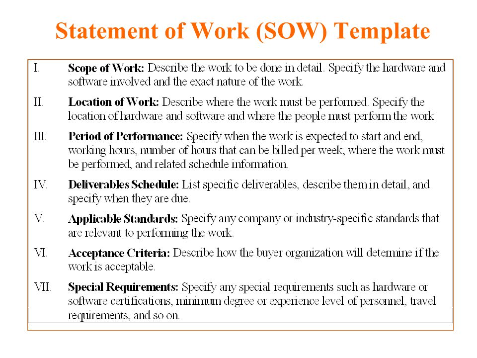 Doc 640410 Statement Of Work Word Template Statement 4 Sample Sow ...