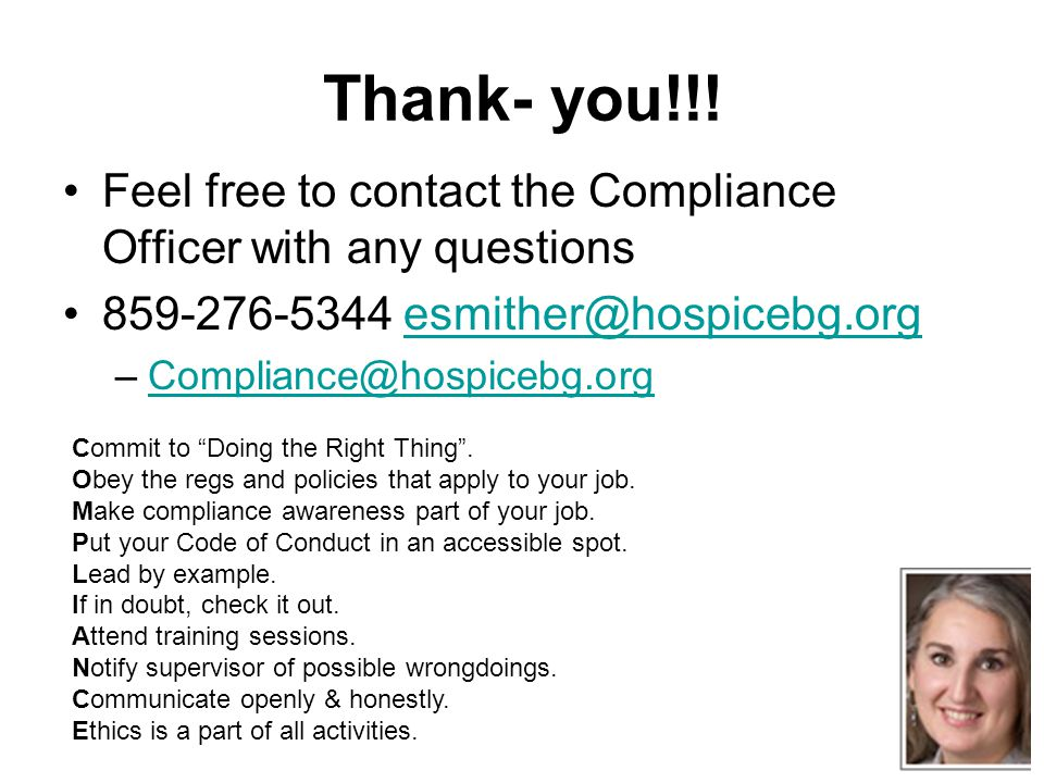 Corporate compliance eugenia smither rn bs chc ppt download - Compliance officer certificate ...