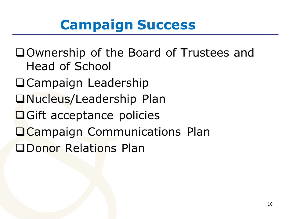 Campaign Success Ownership of the Board of Trustees and Head of School