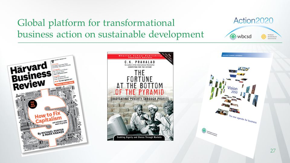 Global platform for transformational business action on sustainable development