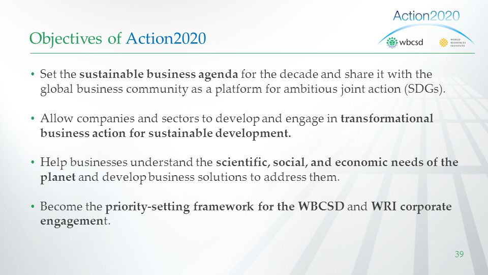 Objectives of Action2020