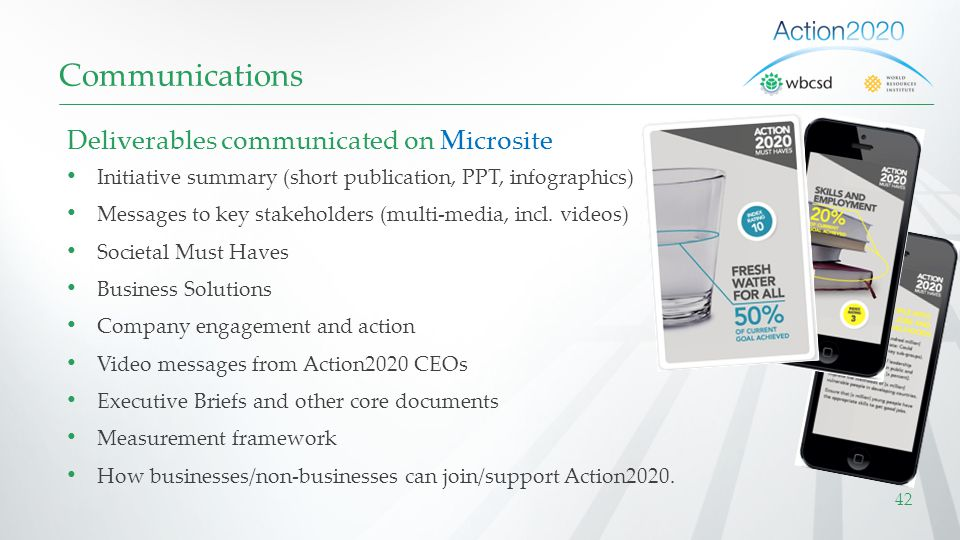 Communications Deliverables communicated on Microsite