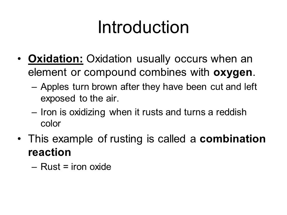 Oxidation Of Iron An Example Of A Combination Reaction Ppt Video