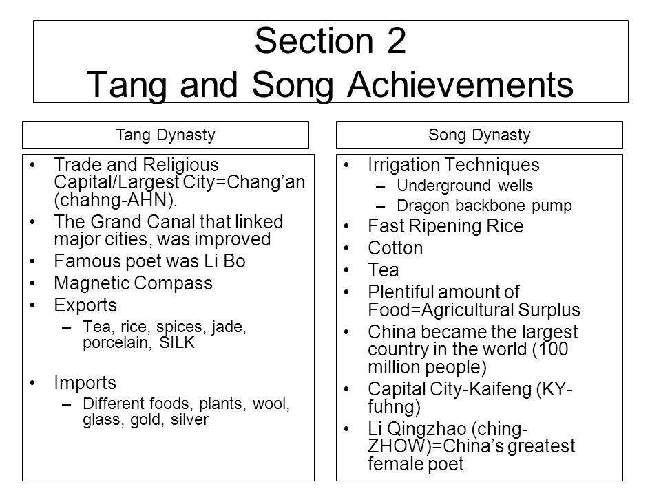 Section 2 Tang and Song Achievements
