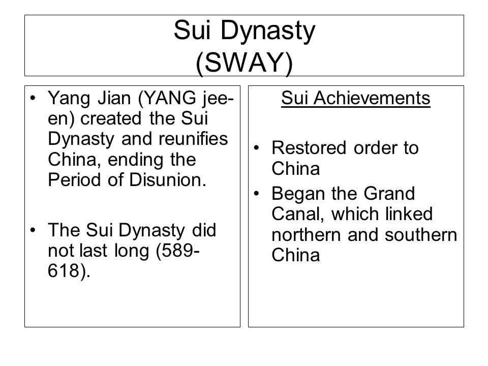 Sui Dynasty (SWAY) Yang Jian (YANG jee-en) created the Sui Dynasty and reunifies China, ending the Period of Disunion.
