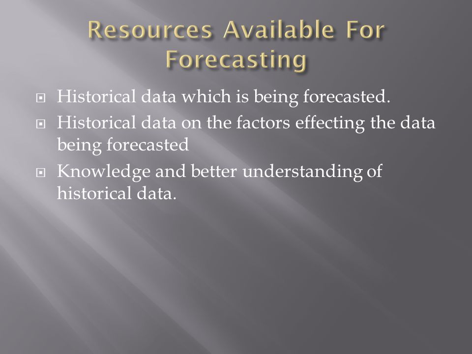 Resources Available For Forecasting