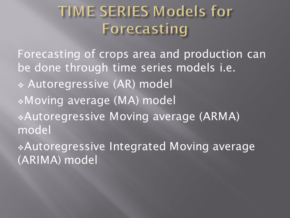 TIME SERIES Models for Forecasting