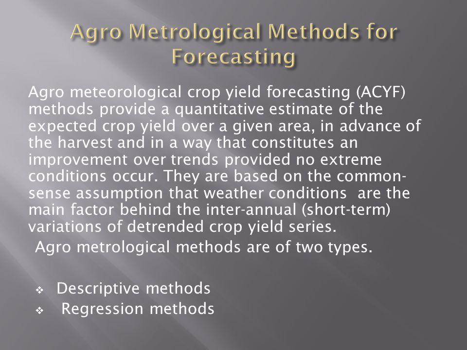 Agro Metrological Methods for Forecasting