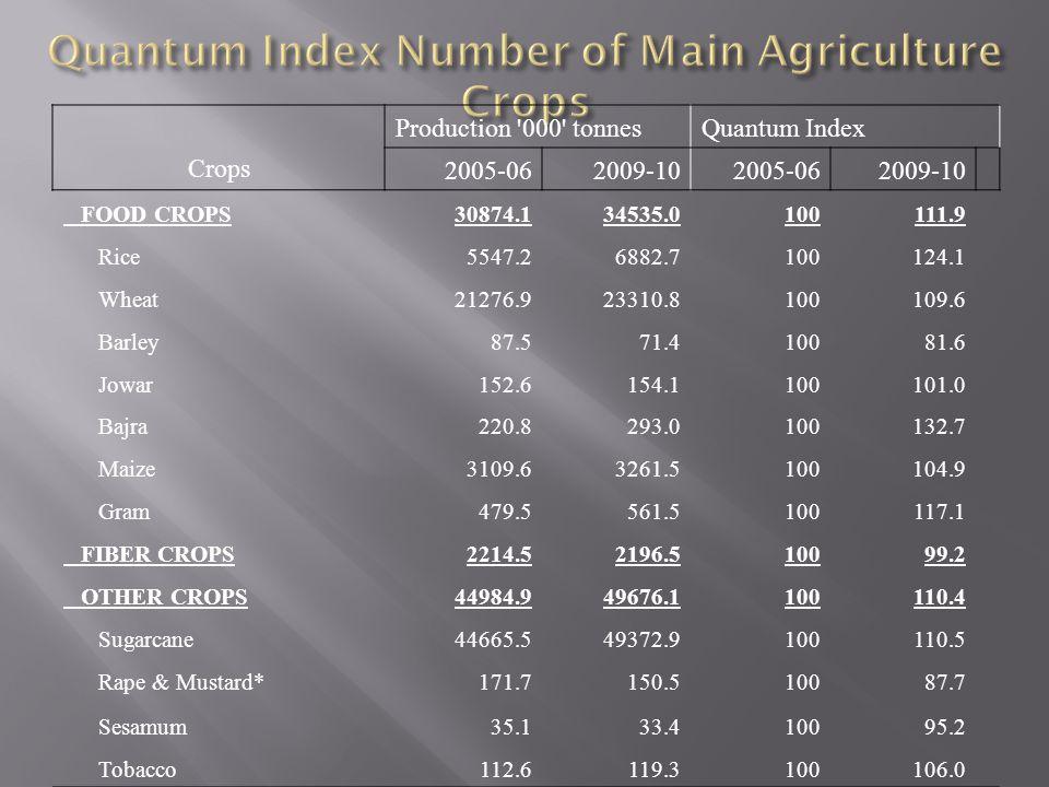Quantum Index Number of Main Agriculture Crops