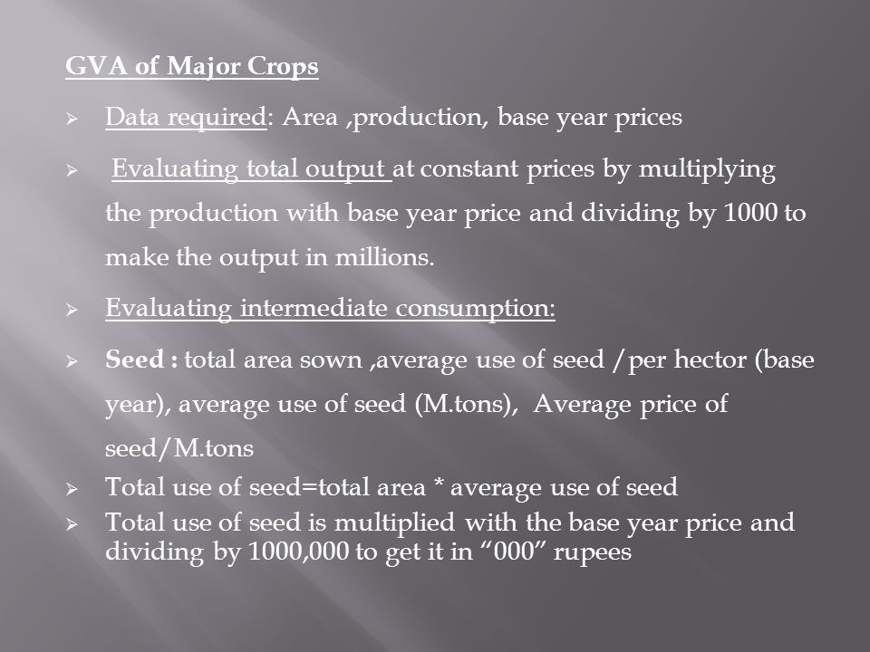 GVA of Major Crops Data required: Area ,production, base year prices.
