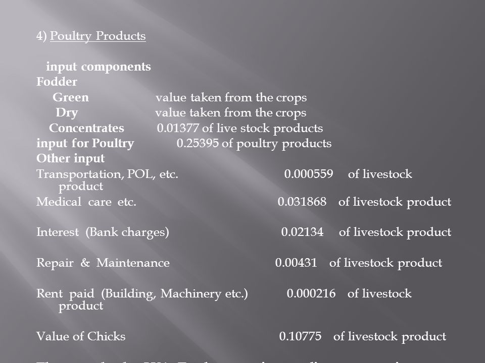 4) Poultry Products input components. Fodder. Green value taken from the crops.