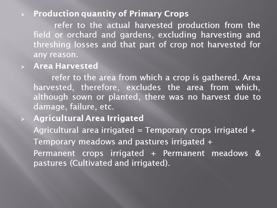 Production quantity of Primary Crops