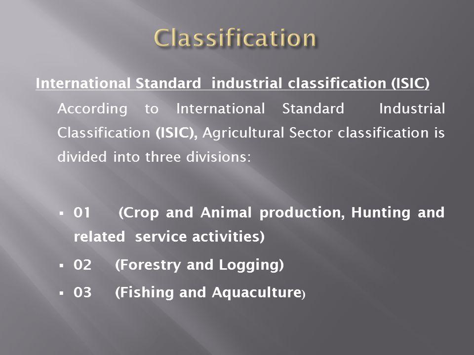 Classification International Standard industrial classification (ISIC)
