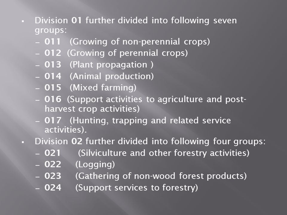 Division 01 further divided into following seven groups: