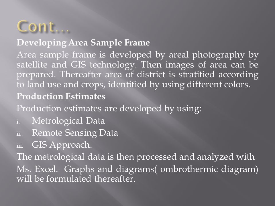 Cont… Developing Area Sample Frame