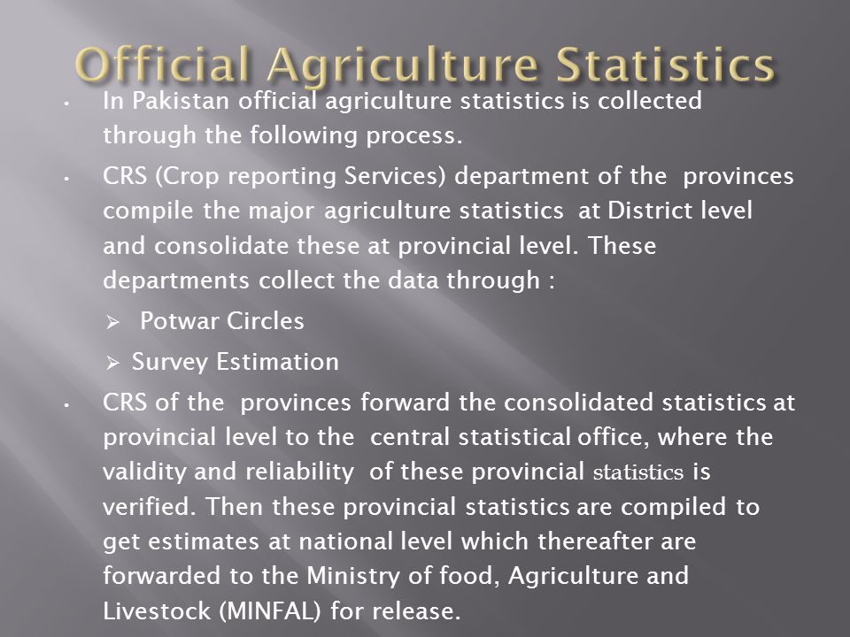 Official Agriculture Statistics